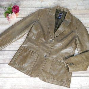 Gap Women's Olive Green Leather Jacket Blazer Styl